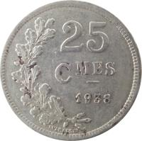 reverse of 25 Centimes - Charlotte (1938) coin with KM# 42a from Luxembourg. Inscription: 25 CMES 1938 EVERAERTS