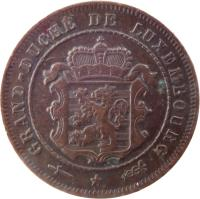obverse of 2 1/2 Centimes - William III / Adolphe (1854 - 1908) coin with KM# 21 from Luxembourg. Inscription: GRAND DUCHÉ DU LUXEMBOURG