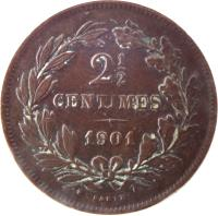 reverse of 2 1/2 Centimes - William III / Adolphe (1854 - 1908) coin with KM# 21 from Luxembourg. Inscription: 2 1/2 CENTIMES 1908