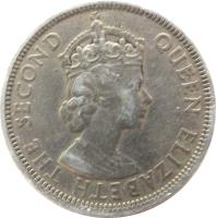 obverse of 1 Rupee - Elizabeth II - 1'st Portrait (1956 - 1978) coin with KM# 35 from Mauritius. Inscription: QUEEN ELIZABETH THE SECOND