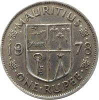 reverse of 1 Rupee - Elizabeth II - 1'st Portrait (1956 - 1978) coin with KM# 35 from Mauritius. Inscription: · · MAURITIUS · · 19 78 · · ONE · RUPEE · ·