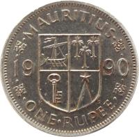 reverse of 1 Rupee (1987 - 2010) coin with KM# 55 from Mauritius. Inscription: MAURITIUS 19 90 · ONE · RUPEE ·