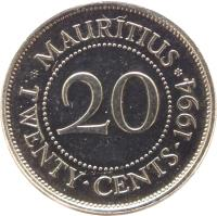 reverse of 20 Cents (1987 - 2012) coin with KM# 53 from Mauritius. Inscription: * MAURITIUS * 20 TWENTY · CENTS · 1994