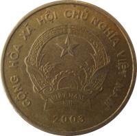 obverse of 5000 Đồng (2003) coin with KM# 73 from Vietnam. Inscription: CỘNG HÒA XU HỘI CHỦ NGHĨA VIỆT NAM VIỆT NAM 2003