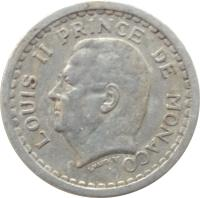 obverse of 1 Franc - Louis II (1943) coin with KM# 120 from Monaco. Inscription: LOUIS II PRINCE DE MONACO L. MAUBERT