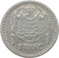 reverse of 1 Franc - Louis II (1943) coin with KM# 120 from Monaco. Inscription: 1 FRANC 1 DEO JUVANTE