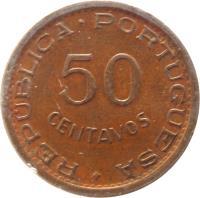 reverse of 50 Centavos (1973 - 1974) coin with KM# 89 from Mozambique. Inscription: REPUBLICA · PORTUGUESA+ 50 CENTAVOS
