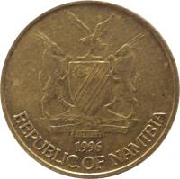 obverse of 1 Dollar (1993 - 2010) coin with KM# 4 from Namibia. Inscription: UNITY LIBERTY JUSTICE 1996 REPUBLIC OF NAMIBIA