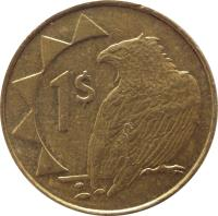 reverse of 1 Dollar (1993 - 2010) coin with KM# 4 from Namibia. Inscription: 1$
