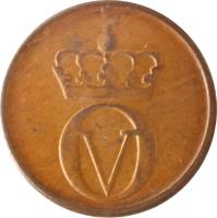 obverse of 1 Øre - Olav V (1958 - 1972) coin with KM# 403 from Norway. Inscription: OV