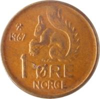 reverse of 1 Øre - Olav V (1958 - 1972) coin with KM# 403 from Norway. Inscription: 1958 1 ØRE NORGE