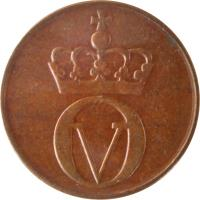 obverse of 2 Øre - Olav V - Large letters (1959 - 1972) coin with KM# 410 from Norway. Inscription: OV