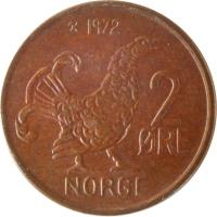 reverse of 2 Øre - Olav V - Large letters (1959 - 1972) coin with KM# 410 from Norway. Inscription: 2 ØRE NORGE 1966