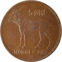 reverse of 5 Øre - Olav V (1958 - 1973) coin with KM# 405 from Norway. Inscription: 5 ØRE NORGE 1971