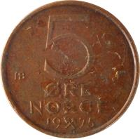 reverse of 5 Øre - Olav V (1973 - 1982) coin with KM# 415 from Norway. Inscription: 5 ØRE NORGE 19 75