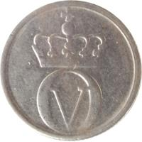 obverse of 10 Øre - Olav V - Large letters (1959 - 1973) coin with KM# 411 from Norway. Inscription: OV