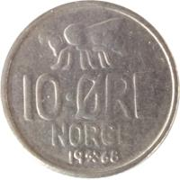 reverse of 10 Øre - Olav V - Large letters (1959 - 1973) coin with KM# 411 from Norway. Inscription: 10 · ØRE NORGE 1972