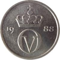 obverse of 10 Øre - Olav V (1974 - 1991) coin with KM# 416 from Norway. Inscription: O V 19 77