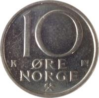reverse of 10 Øre - Olav V (1974 - 1991) coin with KM# 416 from Norway. Inscription: 10 ØRE NORGE