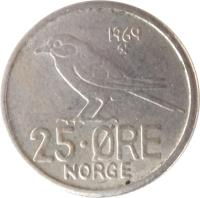 reverse of 25 Øre - Olav V (1958 - 1973) coin with KM# 407 from Norway. Inscription: 25 · ØRE NORGE 1973