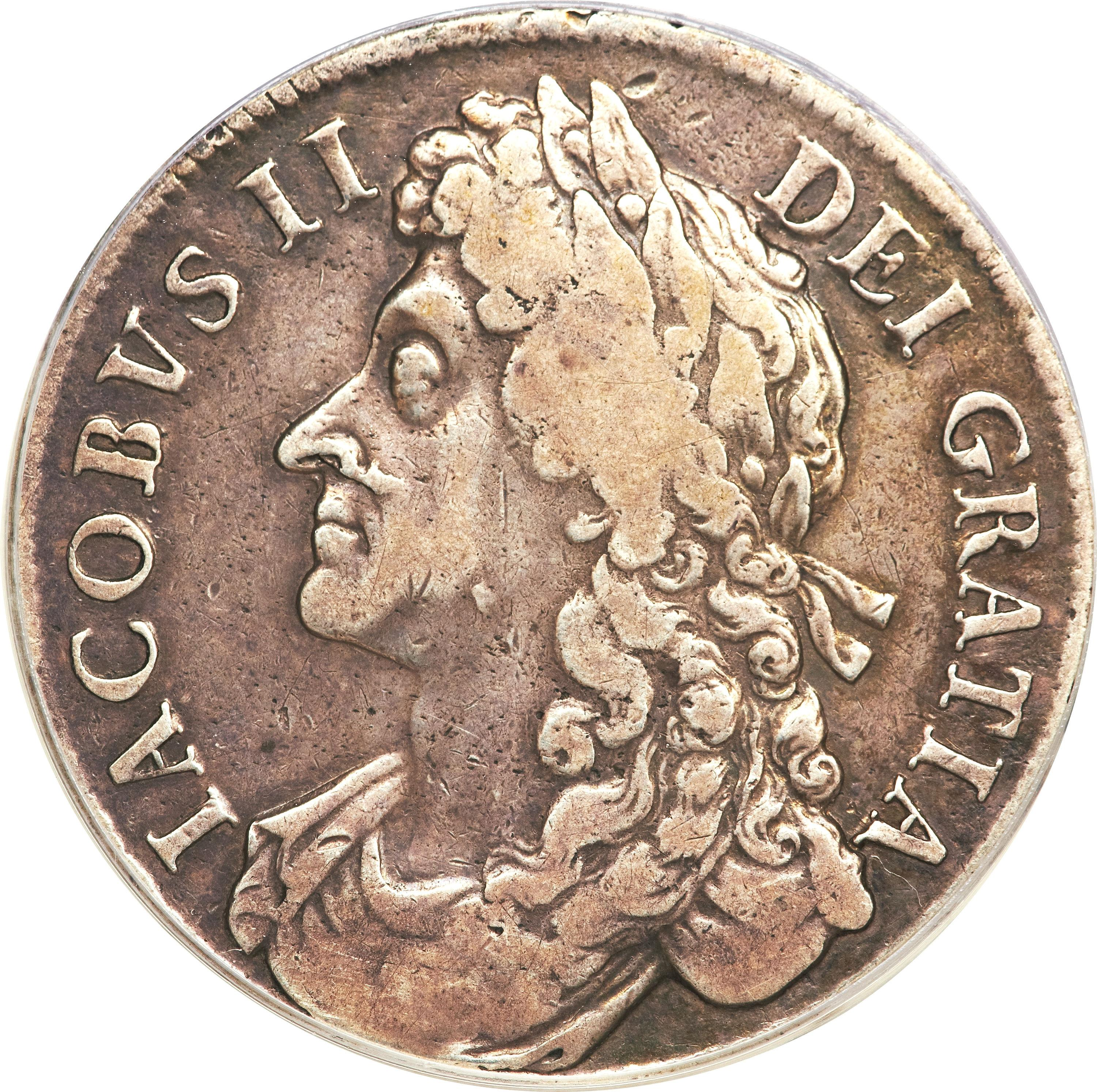 obverse of 1 Crown - James II (1686) coin with SP# 3406 from