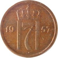 obverse of 1 Øre - Haakon VII (1952 - 1957) coin with KM# 398 from Norway. Inscription: H7 1956