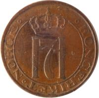 obverse of 2 Øre - Haakon VII (1909 - 1952) coin with KM# 371 from Norway. Inscription: KONGERIKET . NORGE