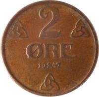 reverse of 2 Øre - Haakon VII (1909 - 1952) coin with KM# 371 from Norway. Inscription: 2 ØRE 1914