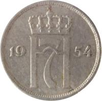 obverse of 10 Øre - Haakon VII (1951 - 1957) coin with KM# 396 from Norway. Inscription: H7 1957