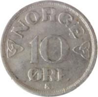 reverse of 10 Øre - Haakon VII (1951 - 1957) coin with KM# 396 from Norway. Inscription: 10 ØRE NORGE