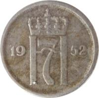 obverse of 25 Øre - Haakon VII (1952 - 1957) coin with KM# 401 from Norway. Inscription: H7 1952