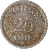 reverse of 25 Øre - Haakon VII (1952 - 1957) coin with KM# 401 from Norway. Inscription: NORGE 25 ØRE