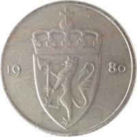 obverse of 50 Øre - Olav V (1974 - 1996) coin with KM# 418 from Norway. Inscription: 19 75
