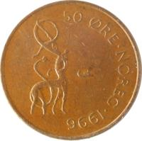 reverse of 50 Øre - Harald V (1996 - 2011) coin with KM# 460 from Norway. Inscription: 50 ØRE · NOREG · 2001