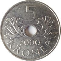 reverse of 5 Kroner - Harald V (1998 - 2012) coin with KM# 463 from Norway. Inscription: 5 2000 KRONER