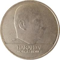 obverse of 20 Kroner - Harald V (1994 - 2010) coin with KM# 453 from Norway. Inscription: HARALD V NORGES KONGE
