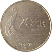 reverse of 20 Kroner - Harald V (1994 - 2010) coin with KM# 453 from Norway. Inscription: 20 KR 20 03