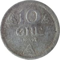 reverse of 10 Øre - Haakon VII - WW2 German Occupation (1941 - 1945) coin with KM# 389 from Norway. Inscription: 10 ØRE