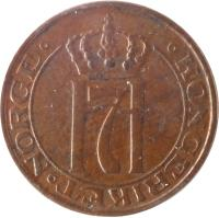 obverse of 1 Øre - Haakon VII (1908 - 1952) coin with KM# 367 from Norway. Inscription: H7 KONGERIKET NORGE