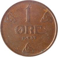 reverse of 1 Øre - Haakon VII (1908 - 1952) coin with KM# 367 from Norway. Inscription: 1 ØRE 1947