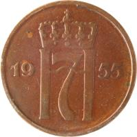 obverse of 5 Øre - Haakon VII (1952 - 1957) coin with KM# 400 from Norway. Inscription: H7 1954