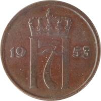 obverse of 2 Øre - Haakon VII (1952 - 1957) coin with KM# 399 from Norway. Inscription: 1953