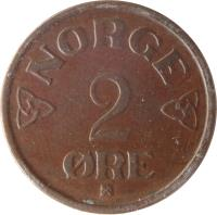 reverse of 2 Øre - Haakon VII (1952 - 1957) coin with KM# 399 from Norway. Inscription: NORGE 2 ORE