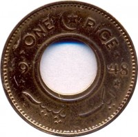 reverse of 1 Pice (1948 - 1952) coin with KM# 1 from Pakistan. Inscription: ONE PICE 1952 ایک پیس
