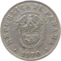 obverse of 5 Centésimos (1961 - 1993) coin with KM# 23 from Panama. Inscription: REPÚBLICA DE PANAMA ********* 1970