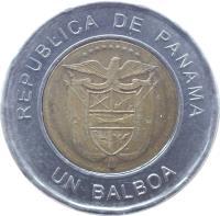 obverse of 1 Balboa (2011) coin with KM# 141 from Panama. Inscription: REPUBLIC DE PANAMA UN BALBOA