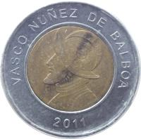 reverse of 1 Balboa (2011) coin with KM# 141 from Panama. Inscription: VASCO NUÑEZ DE BALBOA 2011