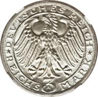 obverse of 3 Reichsmark - Naumburg (1928) coin with KM# 57 from Germany.