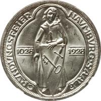 reverse of 3 Reichsmark - Naumburg (1928) coin with KM# 57 from Germany.