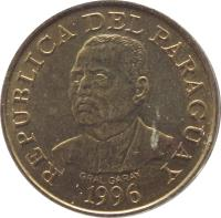 obverse of 10 Guaraníes - FAO (1996) coin with KM# 178a from Paraguay. Inscription: REPUBLICA DEL PARAGUAY GRAL.GARAY